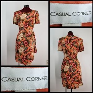 CASUAL CORNER woman short sleeve floral dress sz10